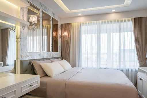 Rèm vải phòng ngủ sang trọng cản sáng