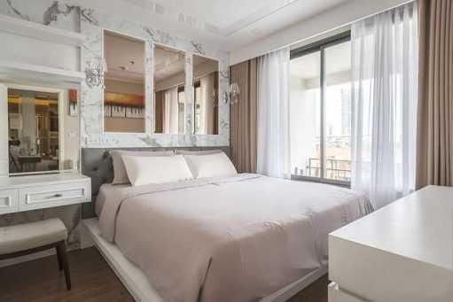 Rèm phòng ngủ màu kem trơn