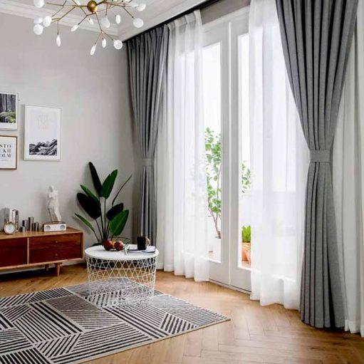 Rèm vải hàn Quốc màu xám ghi