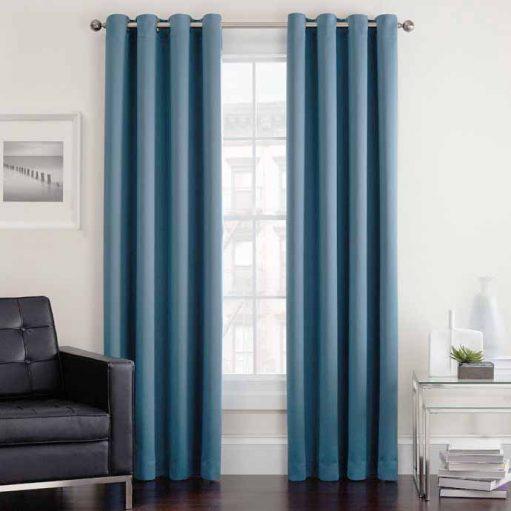 Rèm vải màu xanh cho phòng ngủ