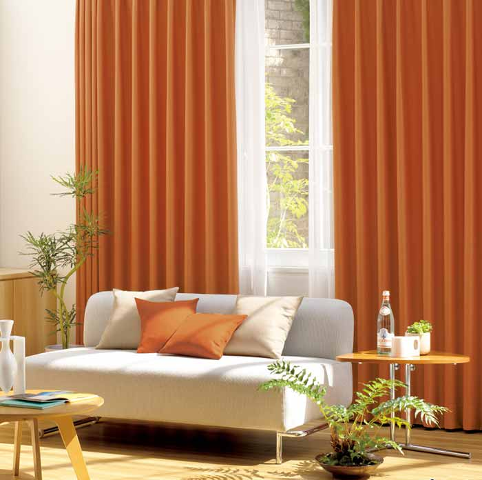 rèm vải phòng khách chống nắng màu cam RPK16