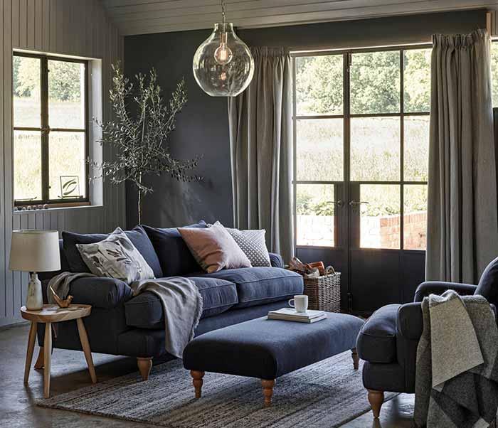 Phòng khách mộc mạc hiện đại màu xám