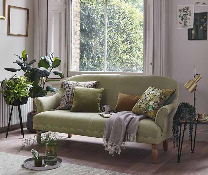 Phòng khách với màu xanh tự nhiên