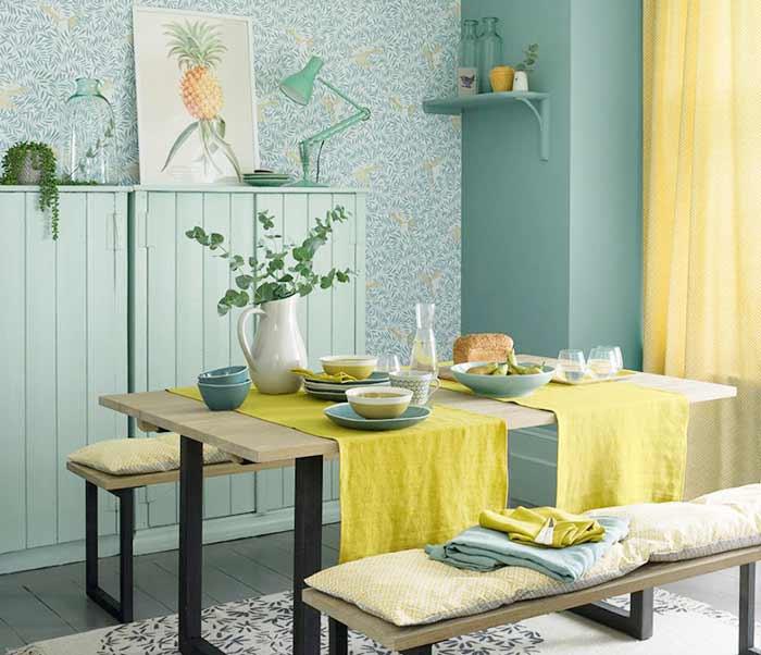 Rèm phòng ăn kết hợp khăn trải bàn