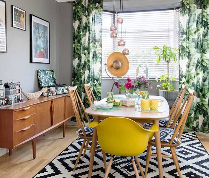 Rèm vải hoa lá thiên nhiên cho phòng ăn