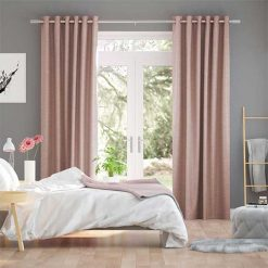 rèm vải polyester màu hồng phấn